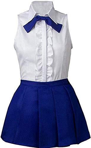 Poetic Walk Fairy Tail Erza Scarlet 2th ver Sailor Dress School Uniform Cosplay Costume (Womens-XL, Blue)