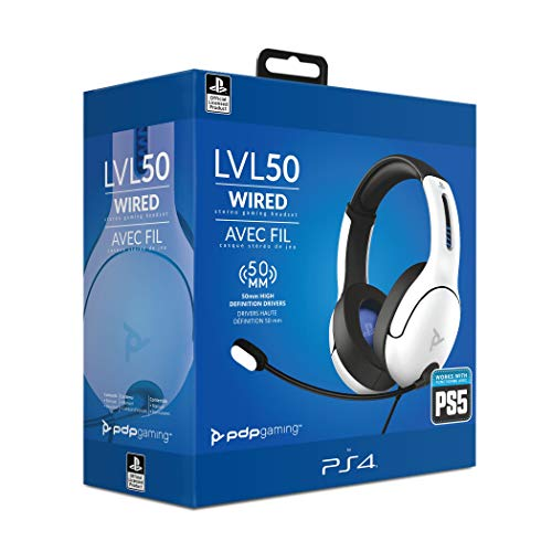 PDP Gaming - Auriculares Con Cable LVL50 Con Licencia Oficial PS4 / PS5 (Color Blanco) (PlayStation 5)