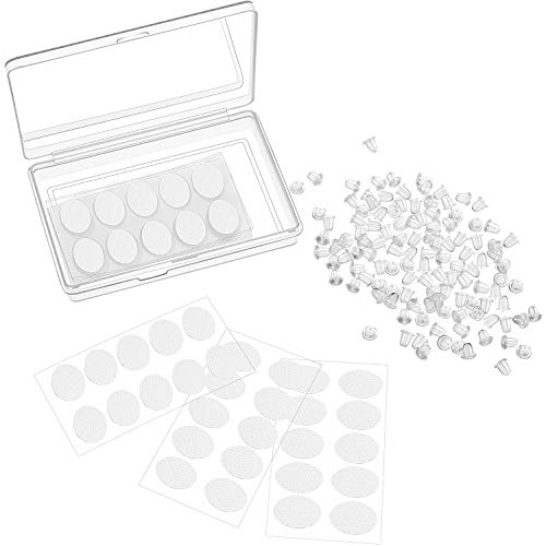 200 Pack Support Patches for Earrings and 100 Pack Silicone Earring Backs Replacement Earring Stoppers in Box