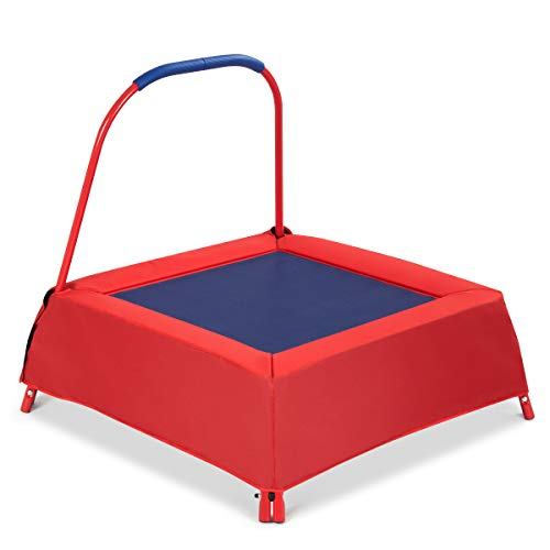 COSTWAY Kids Trampoline - Upgraded 3 Steel Tubes Frame - Children Mini Trampolines Bouncer with Soft Handle for Indoor Outdoor, the Best Gift for Toddlers, Boys and Girls (Red)
