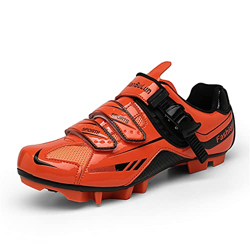MTB Cycling Shoes Womens Spin Shoes Mens Mountain Bike Shoes Compatible Riding Racing SPD Cleats and Lock Pedal Orange 285