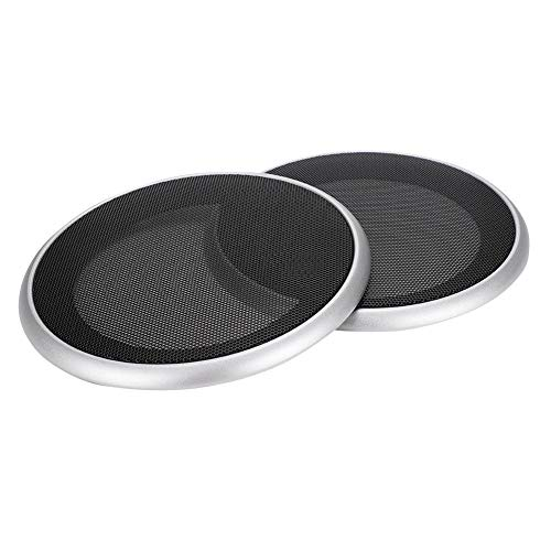 2 stks 5in audio speaker cover subwoofer grills cirkel bescherming metalen grille speaker decoratieve cover voor auto/kleine speaker (zilver + zwart)