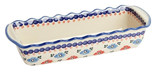 """Polish Pottery Blue and Red Floral Large Fluted Loaf Pan 15.5""""L x 5.75""""W x 3.25""""H (64-oz. capability)"""