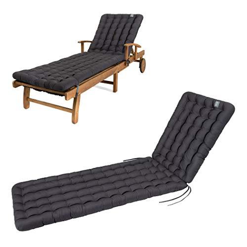 HAVE A SEAT Luxury - Liegenauflage, Auflage Gartenliege (Grau, Anthrazit) 200 x 60 cm, 8 cm dick, waschbar bei 95°C, Trockner geeignet, Bequeme Polsterauflage für Sonnenliege, Liegestuhl, Relaxliege