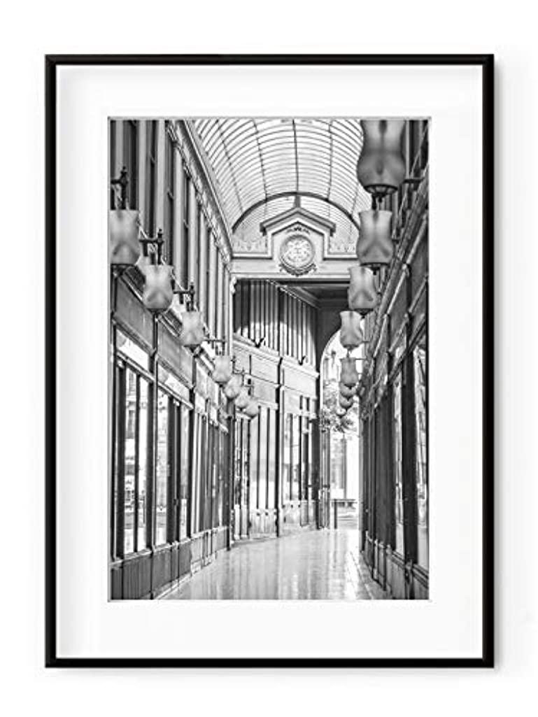 Gallery of Ostende, Black Satin Aluminium Frame, with Mount, Multicolored, 30x40