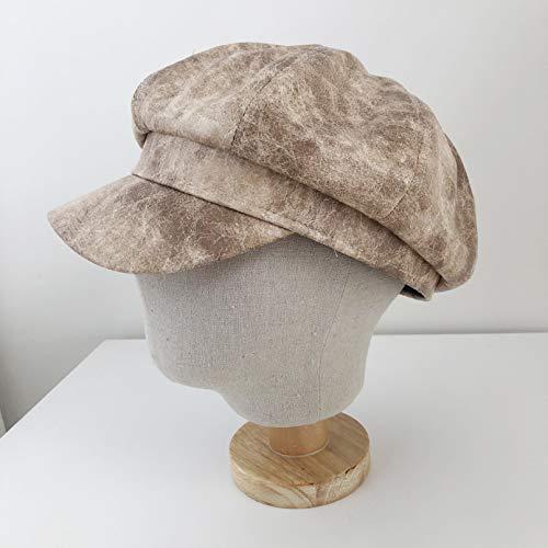Sombrero octogonal antiguo de cuero de PU Sombrero de boina para mujer Gorras de béisbol de todo fósforo Arte de moda Sombrero azul marino Gorra con visera informal Sombrero deportivo al aire