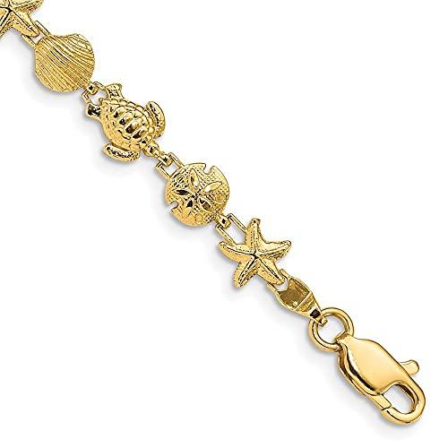 Pulsera de oro amarillo de 14 quilates, 7 pulgadas para mujer.