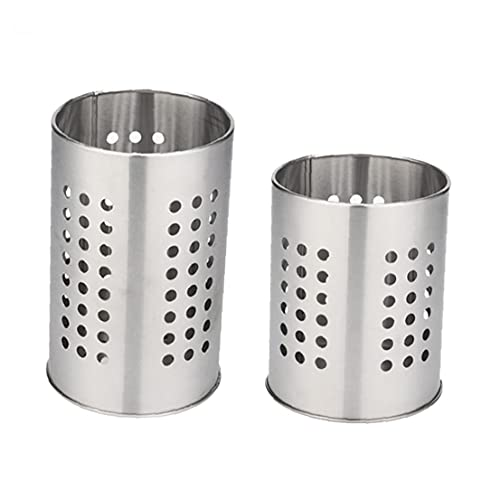 Ohomr Cooking Utensil Holder, Stainless Steel Flatware, Heat Resistant Cooking Utensils Set and Holder, Caddy Kitchen Shelf Organizer 2Pcs