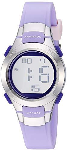 Armitron Sport Women's Silver-Tone Accented Digital Chronograph Matte Lavender Resin Strap Watch, 45/7012LAV