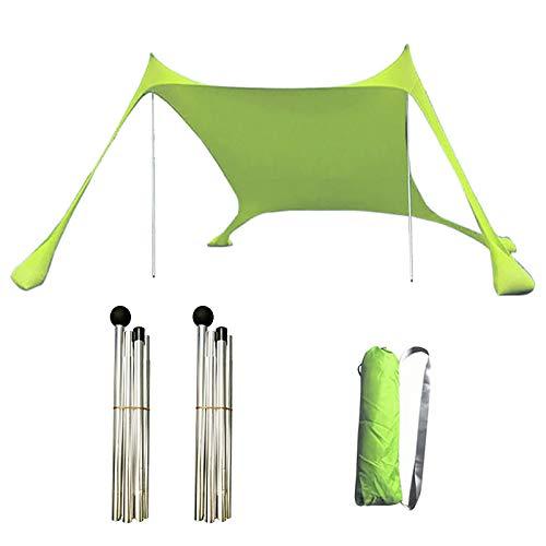 LPAYOK Tienda de campaña de playa, tienda de campaña familiar al aire libre con 2 postes y anclajes de bolsa de arena, toldo portátil para camping, pícnics (6.9 x 6.9 pies), color azul