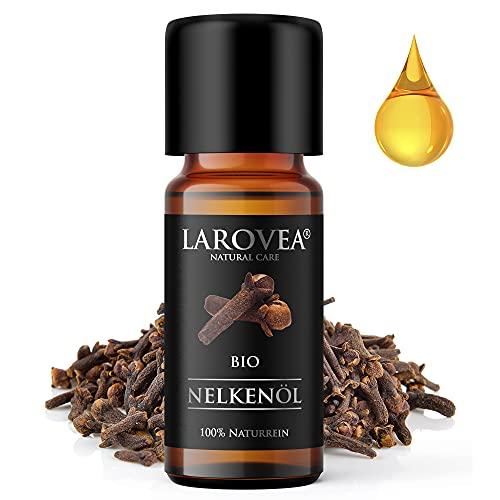 LAROVEA Nelkenöl BIO 10ml - 100% Naturreines Nelkenknospenöl - Altbewährtes Hausmittel bei Zahnschmerzen - Hochwertiges ätherisches Öl