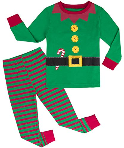 A&J DESIGN Toddler Boys Xmas Elf Pajamas Set (3T, Green)