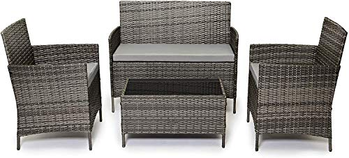 Evre Rattan Garden Furniture Set Patio Conservatory Indoor Outdoor 4 piece set table chair sofa (Mixed Grey)