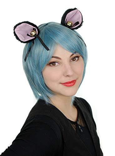Prettyland Perruque Courte 35cm Bleu Clair Turquoise Lisse Éffrangé Mèches Extraterrestre Manga Déguisement C244