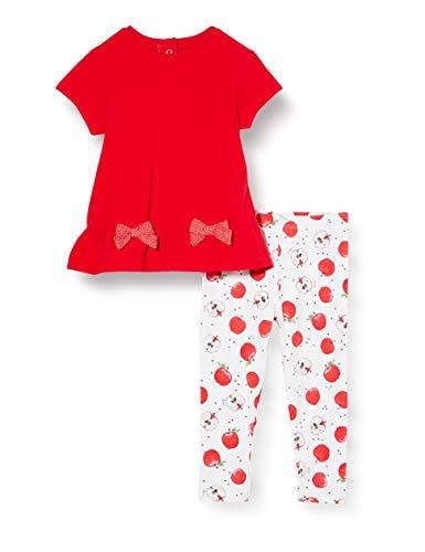 Chicco Completino 2 Pezzi Bimba: T-Shirt Manica Corta + Leggings Conjunto de Ropa, Rojo (Rossol E Bianco 037), 74 (Talla del Fabricante: 074) para Bebés