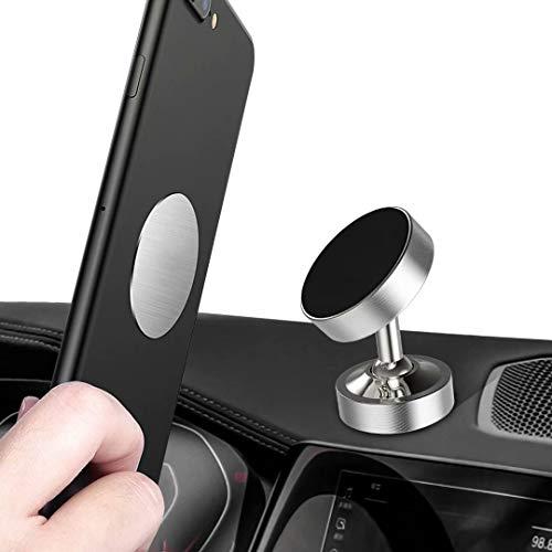 Soporte Magnético Teléfono Móvil Coche con Pegatinas Metalicas Soporte Auto Car Mount Metálico 360°Rotación Apoyo Pegar para iPhone Galaxy Smartphones