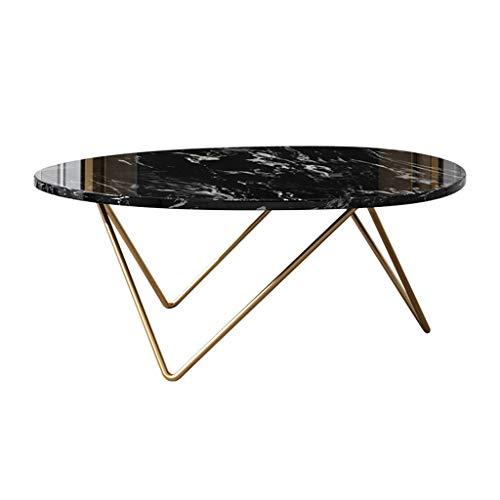 WXiaJ-Kaffetisch Ovaler Couchtisch/Marmortisch, klare Textur, umweltfreundliches Material, Beste Wahl für häusliches Wohnzimmer, schwarz (Größe: 80×60×42cm)