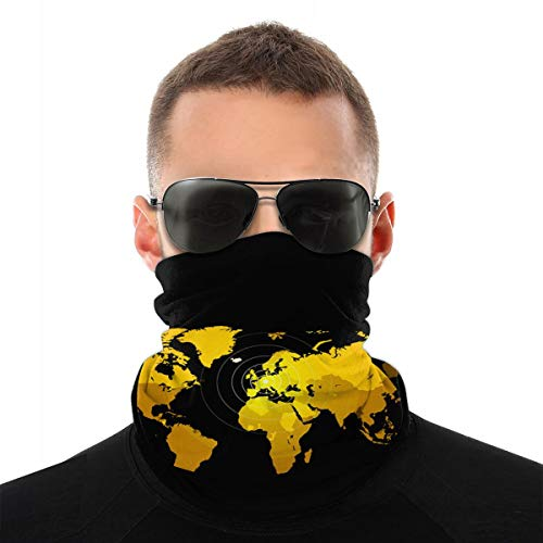 Orangefarbene Weltkarte auf schwarzem Hintergrund Globus Sturmhaube Sport Bergsteigen Ski Outdoor Winddichte Radsport Gesichtsmaske Masken & Schilde