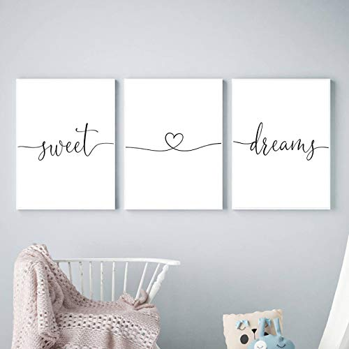JinYiGlobal Blanco y Negro Sweet Dreams Quotes Heart Love Canvas Painting Nursery Posters Prints Wall Art Pictures para el Dormitorio 60x95cmx3Pcs Sin Marco