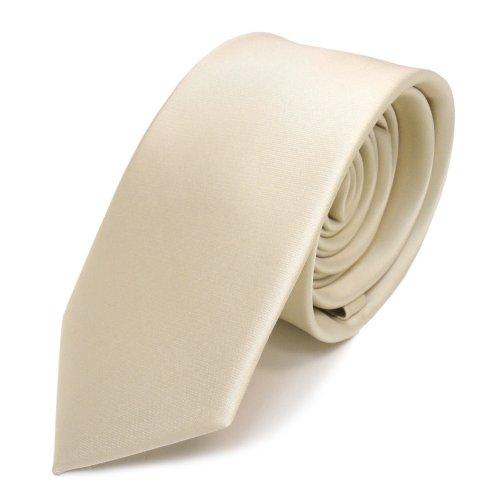TigerTie schmale Satin Krawatte in creme beige elfenbein einfarbig uni