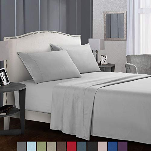 Paekabao Home and Hotel Bed Sheet Set-4 PC-Super Soft Microfiber 1800 Thread Count - Easy Fit - Breathable -16-Inch Deep Pocket-Machine Washable (King, Light Grey)