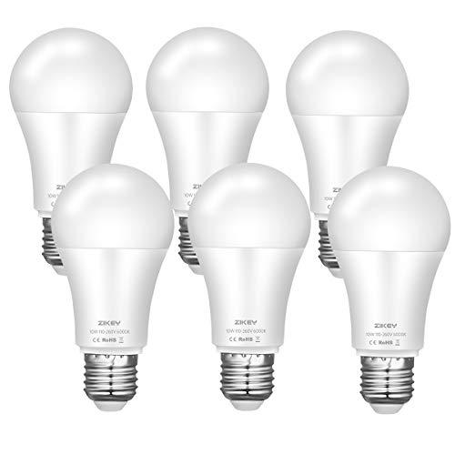 ZIKEY E27 LED Lampe, 10W (Ersetzt 70W Glühbirne), kaltweiß 6000K, 900 Lumen, A60 Birne Leuchtmittel, Nicht Dimmbar, 6er Pack