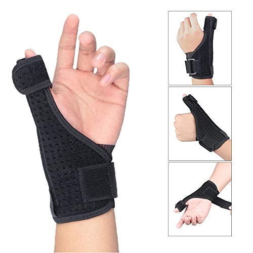 RSTJ-Sjap Thumb Support Splint - Breathable Filter Sweat Mesh Cloth, Unisex's Thumb Wrist Support Brace-Best, for Pain Relief, Sprains, Strains, Arthritis,Black Right Hand
