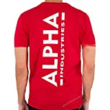 ALPHA INDUSTRIES Backprint T Camiseta, Speed Red, L para Hombre