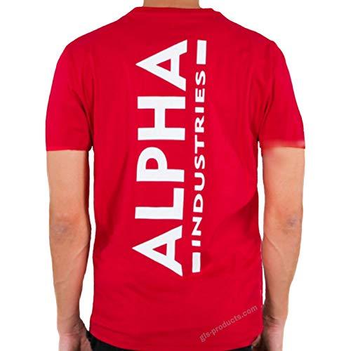 ALPHA INDUSTRIES Backprint T T-Shirt, Speed Red, XXL Uomo