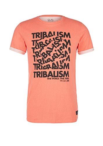 Q/S designed by - s.Oliver Herren T-Shirt mit Schrift-Frontprint Fresh Salmon S
