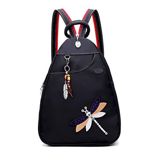 COOFIT Rucksack Damen Diebstahlsicher Stickerei Libelle Kleiner Rucksack Damen Elegant ucksack Schultertasche Draussen Brusttasche mit USB-Ladeanschluss