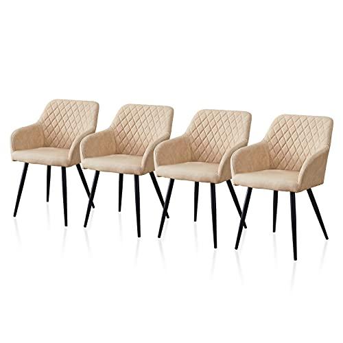 TUKAILAI Juego de 4 sillones de comedor de piel sintética con asiento acolchado, brazos, respaldo, cocina, dormitorio,...
