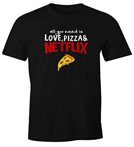 MoonWorks Herren T-Shirt All You Need is Love, Pizza and Netflix Spruch-Shirt Fun-Shirt schwarz XL