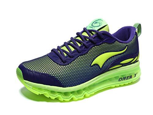 Herren-Sneaker mit Luftpolsterung, atmungsaktiv, für Sport, Laufen, Casual, Sneaker, Größe 41 (UK 7.5), Violett / Grün
