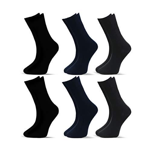 Socksberg Diabetikersocken Herren ohne Gummib& (6 Paar) | Extra weite Diabetiker Socken ohne B& oder Naht | Venenfre&liche Ges&heitssocken für geschmöchtene Füße