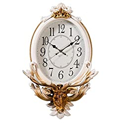 Wall Clock Quartz Clock Animal Numerals 18 Inch Mute Oval Big Watches Atmosphere Retro Housewares Decor Living Room Home Kitchen Office Decoration 39X68X16cm FANJIANI (Color : Beige)