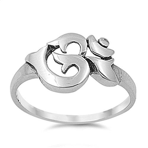 Aum Om Ohm Sanskrit Symbol Ring .925 Sterling Silver Yoga Band