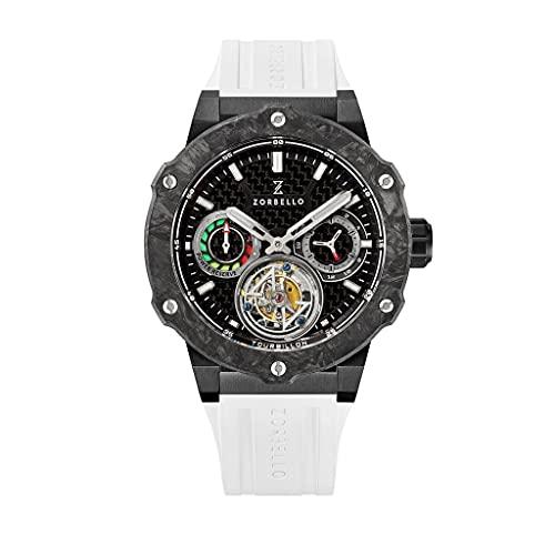 Zorbello Herren-Armbanduhr T2 Tourbilon, automatisch, mit weißer Gangreserve, mit Gummi-Armband und Aufbewahrungsbox, Uhrwerk