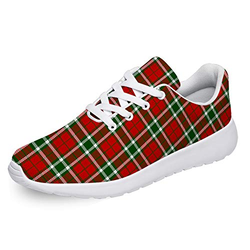 Uminder Womens Buffalo Check Plaid Running Shoes Personalized Breathable Lightweight Fashion Sneakers for Girls Best Gifts for Christmas Buffalo-Check-Plaid-Christmasred US 10