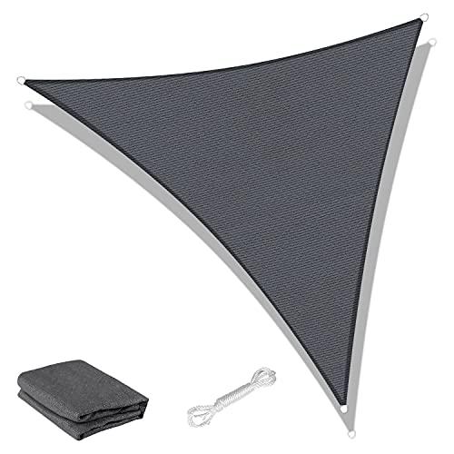 SUNNY GUARD Voile d'ombrage Triangulaire 3x3x4.25m HDPE Respirant Anti UV pour Jardin Terrasse Balcon, Anthracite