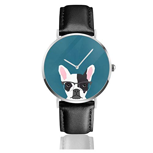 Hipster Frenchie mit Brille French Bulldog Watch Quarzwerk Wasserdichtes Leder Uhrenarmband für Männer Frauen Simple Business Casual Wa