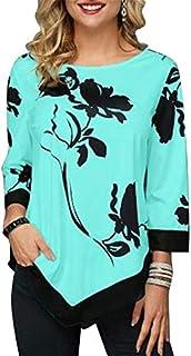 Explopur Flowers,Fashion Women Floral Printed Blouse Plus Size 3/4 Sleeves Irregular Hemline O Neck Spring T-shirts Tees C...