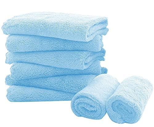 "8 Pack Large Burp Cloths for Baby - 20"" by 10"" Ultra Absorbent Burping Cloth, Hand Washcloths, Newborn Towel - Milk Spit Up Rags - Burpy Bib for Unisex, Boy, Girl - Burp Cloths Set(Aquamarine)"