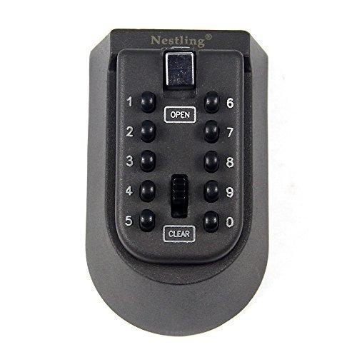 Nestling® Schlüsselsafe mit Outdoor-/Indoor-Wandhalterung, verschließbare Sicherheits-Box, verschließbare Kombination aus digitalem Schloss und Schlüsselsafe