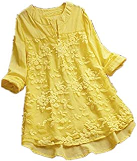 TT WARE Floral Embroidery V-Neck Long Sleeve Irregular Vintage Blouse-Yellow-6