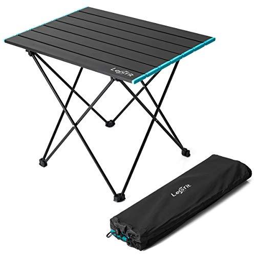 Lesfit Campingtisch Falttisch Klappbar, Camping Tisch Faltbar Ultraleicht mit Tragetasche (57x41 cm)