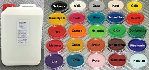 3Liter FLüssiglatex OHNE AMMONIAK viele Farben flüssig Latex Naturgummi Latexmilch Ammoniakfrei dünn nicht gestrekckt gefärbt (Orange)