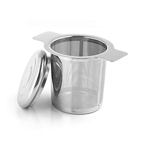 QIUQIAN Infusor de té de acero inoxidable, filtro de café con asas dobles de tamaño perfecto para colgar en teteras, tazas, tazas para empinar hojas sueltas té y café