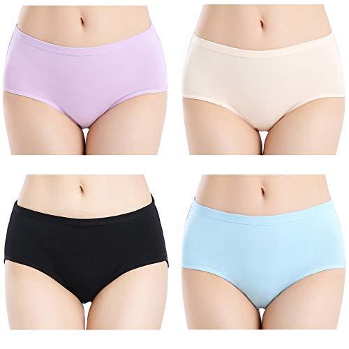 Closecret Women Comfort Cotton Underwear Classic Full Coverage Breathable Briefs Panties Underpants Multipack (M, Multi-Color)