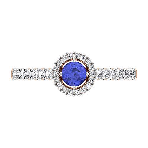 Anillo de compromiso de tanzanita y diamante, anillo de compromiso halo, anillo solitario con piedra lateral (tanzanita de 5 mm), 14K Oro rosa, Size:EU 46